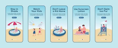règles de sécurité de la plage intégration de modèles de vecteur plat écran application mobile