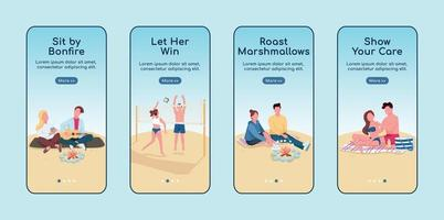 rendez-vous romantique à la plage, onboarding mobile app screen flat vector template set