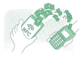 terminal de paiement mobile fine ligne concept illustration vectorielle vecteur