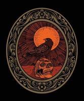 illustration oiseau corbeau effrayant avec tête de crâne vecteur