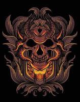 Tête de crâne de démon avec orament de gravure vintage vecteur