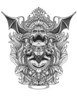 crâne de diable effrayant avec style d'ornement de gravure vintage vecteur