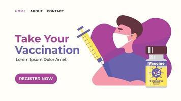 Bannière Web de la page de destination de l'enregistrement de la vaccination vecteur