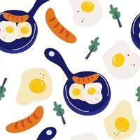 modèle sans couture avec des oeufs brouillés vecteur petit déjeuner du matin modèle sans couture avec poêle à frire avec des oeufs saucisse et laitue feuilles omelette oeufs brouillés petit déjeuner nourriture dessin animé illustration