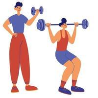 Les hommes jouent des exercices de squats d'haltères avec des haltères perte de poids gymnastique de santé définie pour l'idée de faire de la publicité de la santé vector illustration sport homme de loisirs en bonne santé