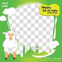 joyeux eid al adha vert avec des moutons vecteur