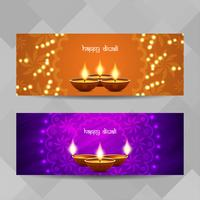Jeu de bannières religieuses abstrait Happy Diwali