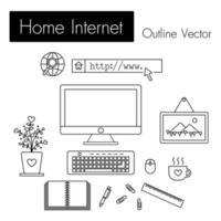 ordinateur internet à la maison et espace de travail moderne et équipement moniteur écran clavier souris cadre photo tasse de café cahier stylo trombone règle pot de fleurs dans la chambre vecteur