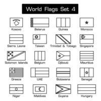 drapeaux du monde mis 4 style simple et contour épais design plat vecteur