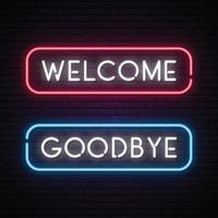 bannière de texte néon vecteur bienvenue et au revoir
