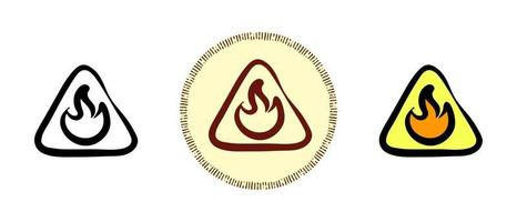 contour et couleurs et symboles rétro du signe inflammable vecteur
