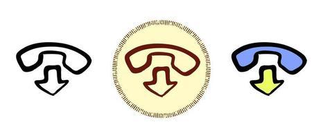 Contour et couleurs et symboles rétro de la fin d'une conversation téléphonique vecteur