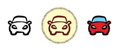 Contour et couleurs et symboles rétro d'une vue frontale de voiture de tourisme vecteur