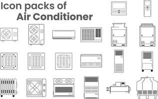 packs d'icônes de vecteur de contour de climatisation hvac