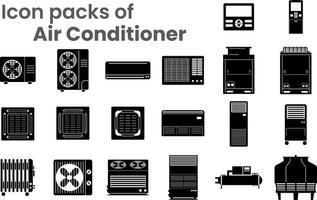 packs d'icônes de climatiseurs vecteur