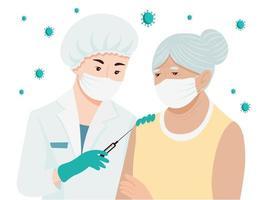 femme âgée de vaccin contre le coronavirus vecteur