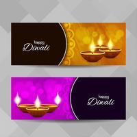Jeu de bannières religieuses abstrait Happy Diwali vecteur