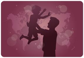Sensibilisation à l'adoption internationale Père Fils vecteur
