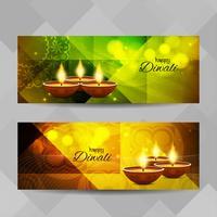 Jeu de bannières décoratives abstrait Happy Diwali vecteur