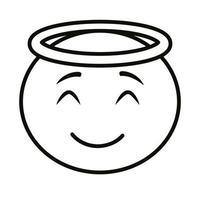 ange emoji visage icône de style de ligne classique vecteur