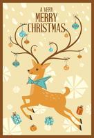 Carte de voeux joyeux Noël abstraite Mid Century Mod Renne vecteur