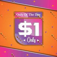 dollar one only deal of the day promotion bannière publicitaire vecteur