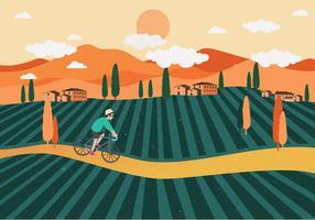 Vecteur de personne première paysage de vignoble
