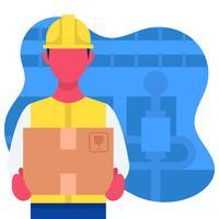 Illustration de travailleur d'usine vecteur