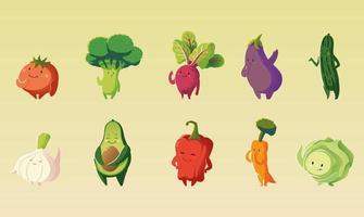 mignon, tomate, brocoli, carotte, aubergine, laitue, légumes, dessin animé, détaillé, icône, ensemble vecteur