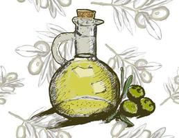 bouteille de vecteur d & # 39; huile d & # 39; olive avec modèle sans couture de branche d & # 39; olivier