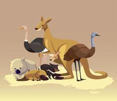 carte continent australien animaux faune vecteur