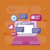 ordinateur portable bavardant messages sms bulles dessin animé médias sociaux vecteur