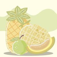 fruits frais ananas melon et citron nutrition vecteur