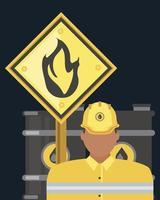 Le baril de pétrole de l'industrie pétrolière et signe de substance inflammable vecteur