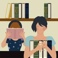 Les femmes tiennent un livre dans leurs mains la lecture de manuels de librairie vecteur