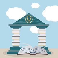 livres de pile de librairie vecteur