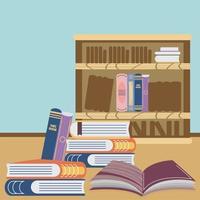 manuels d'étagère de librairie vecteur