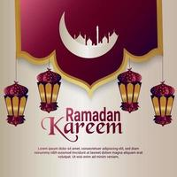 carte de voeux de célébration du festival islamique ramadan kareem avec lanterne créative vecteur