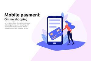 Service en ligne de paiement mobile pour site Web d'entreprise moderne, socia vecteur
