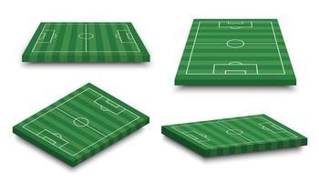 ensemble de terrain de football 3d sur fond blanc isolé perspective et vecteur d'aspect isométrique