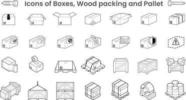 packs d'icônes de boîtes d'emballage et de palette en bois vecteur