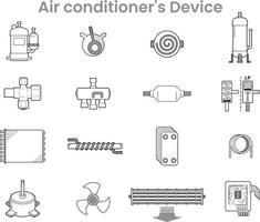 packs d'icônes de dispositif de climatisation vecteur