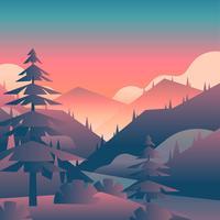 Mountain Sunset Landscape Vue à la première personne vecteur
