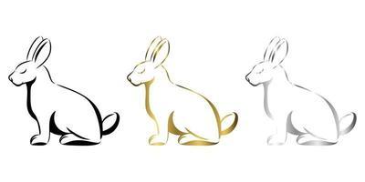 vector illustration d'art en ligne d'un lapin il est assis là art trois couleurs or noir et argent