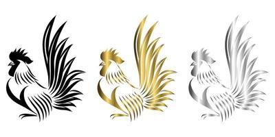 vecteur ligne art illustration logo d & # 39; un bantam il est debout il y a trois couleurs or noir et argent
