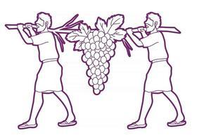 Deux espions d'Israël transportant des raisins de canaan vecteur