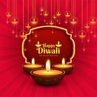 Joyeux diwali diya fond de carte festival huile lampe vecteur