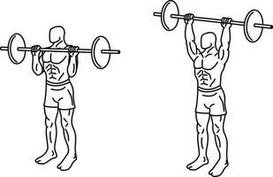 pousser des exercices de presse et s'entraîner avec des poids vecteur