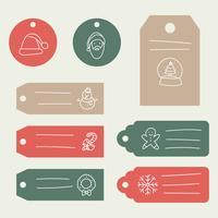 Etiquettes cadeaux vertes, rouges et brunes