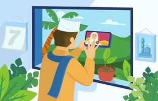 salutations de la famille eid avec concept d'appel vidéo vecteur